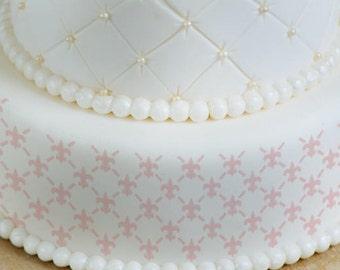 Cake Stencils- Fleur-De-Lis Pattern Stencil, Birthday Cake, Wedding Cake, Celebration Cake, Washable, Reusable, Dishwasher Safe, Food Safe
