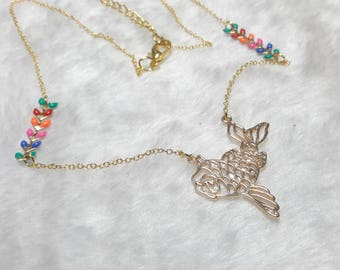 Gold necklace multicolor origami fish