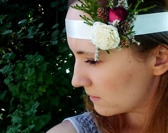 Ivory green burgundy baby headband bridal boho rustic woodland wedding wrist corsage bridesmaids sola flower greenery hairpiece sash belt