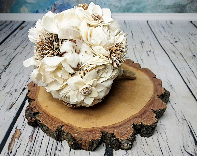 MADE on ORDER Medium cream rustic wedding BOUQUET Ivory sola Flowers cotton bolls Burlap lace, bridal Bridesmaids, roses vintage wedding