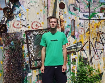 90's RIPPED DON'T TOUCH green t-shirt size medium