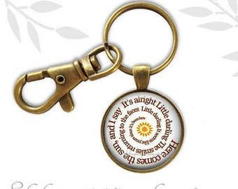 Beatle Key Chain, Beatles Lyrics key chain, Here Comes The Sun Pendant Necklace, Music Theme Pendant, Inspirational Jewelry, Music Gift