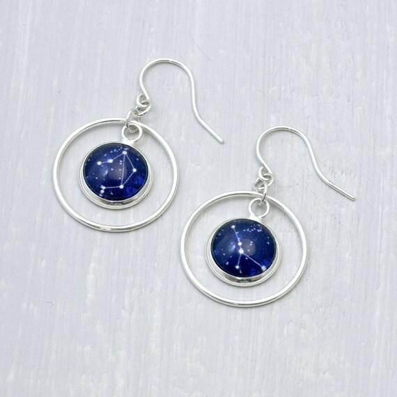 Personalised Zodiac Dangle Hoop Earrings