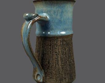 Mid Century Modern Thomas Toft Denmark Pottery Ceramic Vase Pottery Art Brown Light Blue MCM Art Designer Stoneware