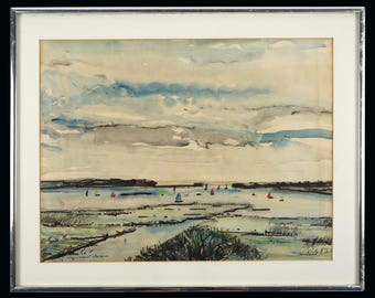 "John Randall ""Christchurch Harbour"" Watercolor Painting Vintage Art Mid Century Modern MCM MOD"