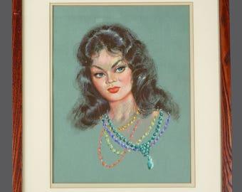Pastel Portrait Woman Drawing Mid Century Modern MCM MOD Decor Vintage Art