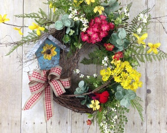 Spring Wreaths, Summer Wreaths, Front Door Wreaths, Outdoor Wreaths, Door Wreath Spring, Easter Wreath, Birdhouse Wreath, Front Porch Decor.