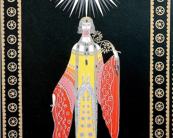 Erte Matted Print 1987 UNATTAINABLE PRINCESS LOINTAINE Money and Looks  Professionally Matted Art Deco Fashion Print Ready to Frame Wall Art