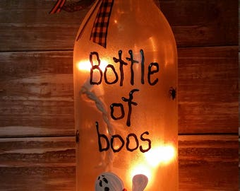 Bottle of Boos lighted wine bottle/decoration/decor/painted/cute