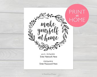 Wifi Password Printable PDF | 4x6 5x7 8x10 Instant Download | Calligraphy print at home, Make Yourself at Home, Wifi Network Password