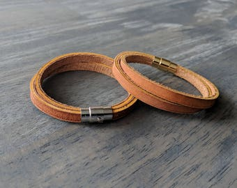 Glove Leather Bracelet- Tan Double