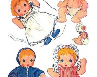 1945 Ninette, Darling 11 Inch Cloth Doll & Clothes Pattern Vintage PDF Instant Download