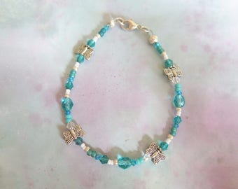 Womens Girls Handmade Beaded Bracelet, Swarovski Crystal Bracelet, Butterfly Bracelet, Pretty Bracelet, Girls First Bracelet, Womens Present