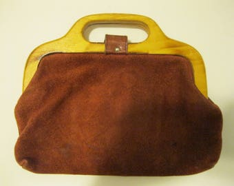 Vintage 70's Brown Suede Leather Purse with Wooden Handles bo ho Hippie