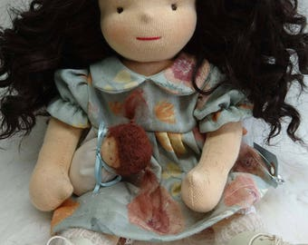 Waldorf doll 38 cm with real hair