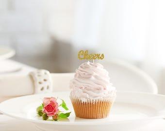 CHEERS Glitter Cupcake Topper set of 12 - wedding, engagement, birthday, bachelorette, bridal shower, graduation, celebration cake decor