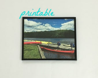 Printable Wall Art Boats Canoes Kayak Paddle Park Lake House Decor Landscape Photography Nature Print Instant Digital Download