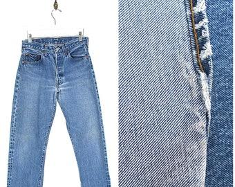 Vintage Levis 501 Selvedge Denim Jeans - 80s Levi's 501XX Redline Jeans - 1980s Levis 501 Button Fly Red Tab Black Bar Jeans Made USA 30W