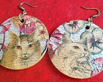 Cat Jewelry, Kitty Earrings, Cat Earrings, Cat Lover, Chain Earrings, Crazy Cat Lady, Animal Earrings, Wood Earrings, Red/Blue/Brown/Gold
