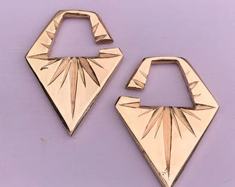 North Star Ear Weights - 18k Rose Gold plated Brass - Ear Hangers for Stretched Lobes