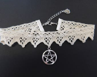 Ivory White Gothic Lace Pentagram Wicca Burlesque Choker Necklace
