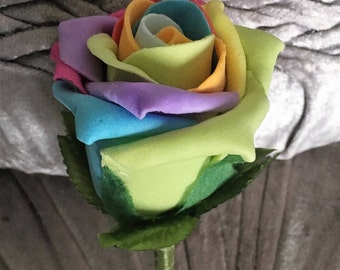 Artificial Rainbow Rose Buttonhole/Boutonniere wedding flowers with green ribbon,  Groom, Bestman, Groomsmen, Ring bearer, Wedding guests