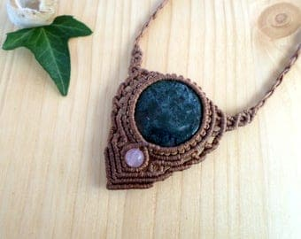 Moss agate macrame necklace, macrame stone, gemstone necklace, moss agate jewelry, hippie necklace, macrame jewelry, tribal necklace