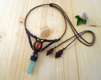 Aventurine wand macrame necklace, macrame jewelry, carnelian necklace, bohemian jewelry, macrame stone, hippie necklace, aventurine jewelry