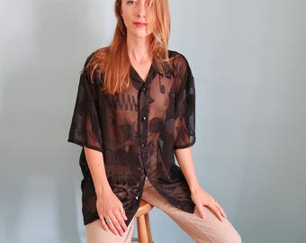 Black Slouchy Sheer Patterned Short Sleeve Blouse