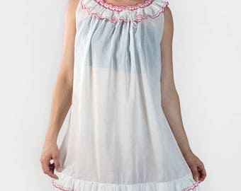 Vintage White Red Trim Ruffle Lightweight Sleeveless High Neck Short Cute Girly Intimates Nightgown Dress