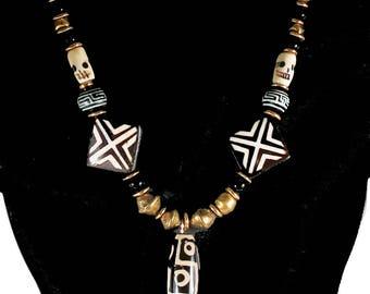 Tribal African Focal Batik Bead - Bronze Beaded Necklace Gift - Bohemian Tribal African Beads Necklace Gift - Handmade Tribal Bohemian Gift