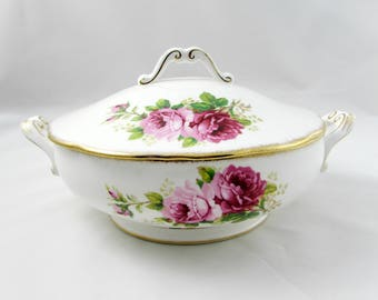 "Royal Albert ""American Beauty"" Covered Vegetable Dish, Serving Dish, Vintage Royal Albert, Pink Roses"
