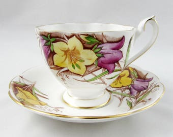 Queen Anne Tea Cup and Saucer with Hand Painted Flowers, Vintage Bone China