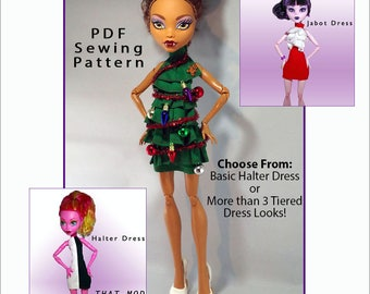 """BURST into TIERS Halter Dress Doll Clothes Sewing Pattern for 17"""" Fashion Dolls like Monster High, fits Gooliope - Instant PDF Download"""