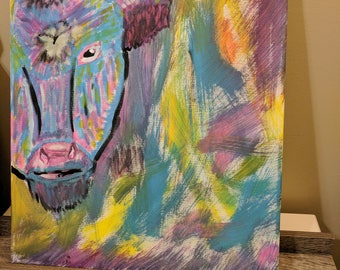 Rainbow Cow Painting