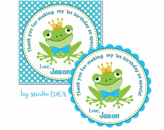 """Frog Customized Birthday Printable Tag- 2.5""""- Square or Scallop Tag-Frog with Bowtie & Crown-Personalized Boys Tags-Digital file"""