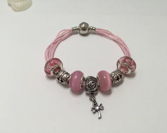 Bracelet charm's pink multi cords with ref 591 flower charm