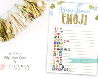 Baby Shower Emoji Pictionary . Blue and Gold Emoji Baby Shower Game . Printable Instant Download . Blue Gold Baby Shower Boy Games