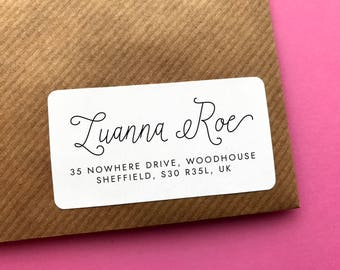 Pretty Address Sticker, Family Address Label, Modern Address Sticker, Wedding Address Label, Calligraphy Return Address, Address Sticker