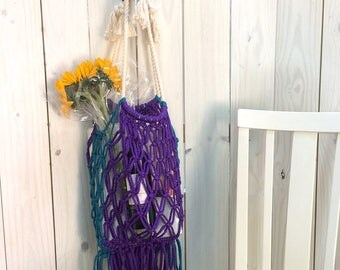 Purple Stylish Eco-Friendly Macrame Bag with Fringe, Reusable Macrame Shopping Bag, Earth-Friendly Bag, Macrame Market Bag, Produce Bag