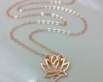 Rose gold-filled lotus necklace; pink gold flower necklace; Rose gold flower necklace