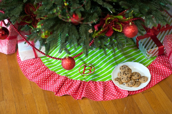 Monogrammed Christmas Tree Skirt Striped Tree Skirt Polka Dot Tree Skirt Ruffled Tree Skirt Christmas Home Decor Personalized Holiday Decor
