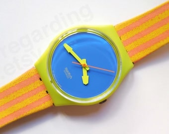 Swatch 'Chaise Longue' GJ109 watch, bright colorblock and stripes // 38 USD