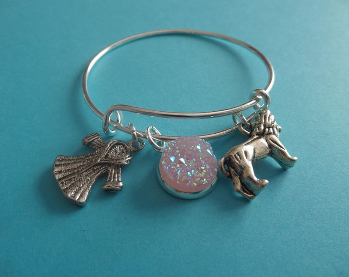 Narnia bangle, aslan bangle, lion bangle, narnia bracelet, lion lucy gift, narnia party favors, fan gift, druzy bracelet, sandykissesuk