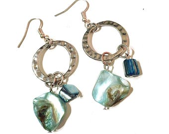 Turquoise shell and silver hoop Earrings