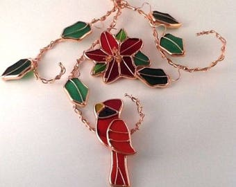 """Red Stained Glass Cardinal Suncatcher Bird Twisted Copper Wire Holly Berry 8.5"""""""
