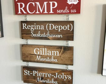 Horse & Rider Home Is Where the RCMP Sends Us Hanging Wooden Sign