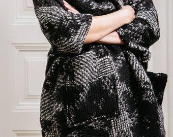 Woman's winter cardigan / Oversized unusual coat / Front pocket shapeless wool cardigan / Blanket warm plus size cardigan / Fasada 16101-3