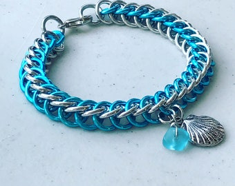 Chainmail Half Persian Bracelet w/ Seashell Charm