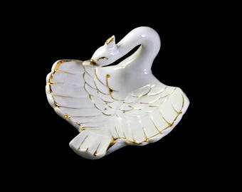 Swan Ashtray, Swan Bowl, Swan Figurine, Trinket Bowl, Made in Japan, Porcelain, White and Gold, Collectible